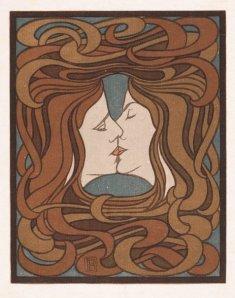 Peter Behrens, The Kiss (1898), 27 x 21 cm, coloured woodcut.