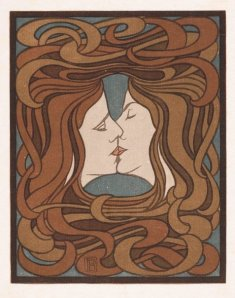 Peter Behrens, The Kiss (1898), 27 x 21 cm, coloured woodcut.