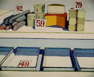 Wayne Thiebaud, Delicatessen Counter (1962). It's just about a delicatessen counter. Right?
