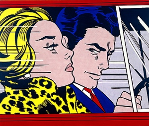 Roy Lichtenstein, In the Car (1963). Would you accept a ride from this man? Yeah you would - his hair is totally boss.