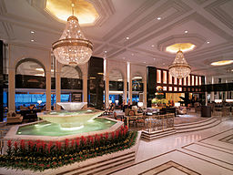 Our hotel lobby. I spent a LOT of time dusting that fountain in the mornings. Oh wait, that's the Shangri La.